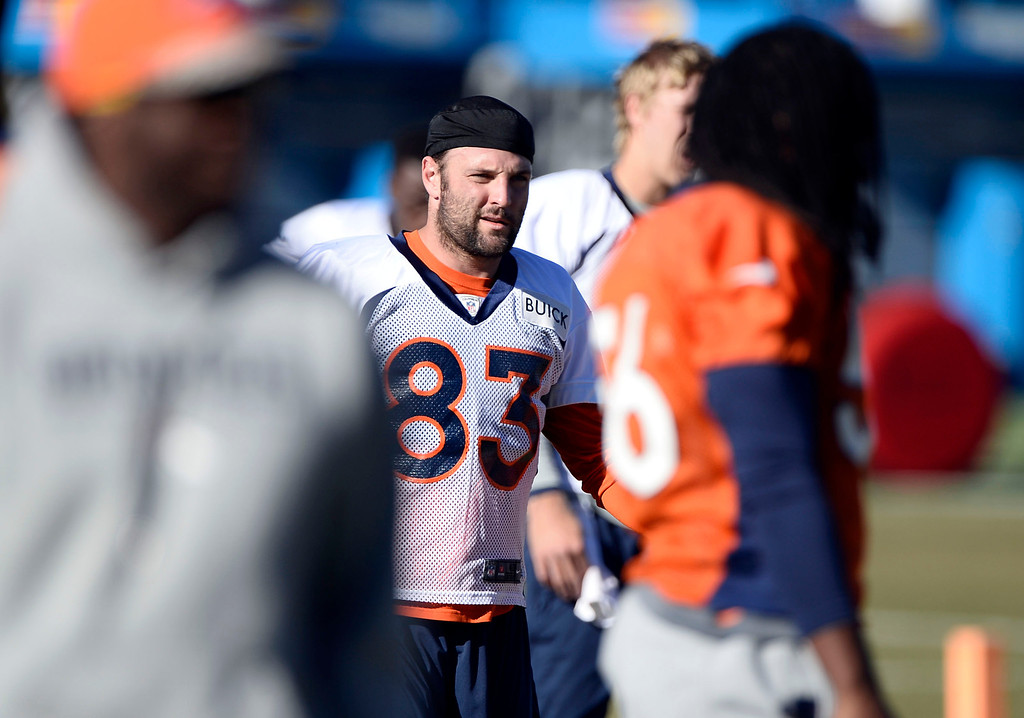 . Denver Broncos wide receiver Wes Welker (83) stretches before practice November 27, 2013 at Dove Valley (Photo by John Leyba/The Denver Post)