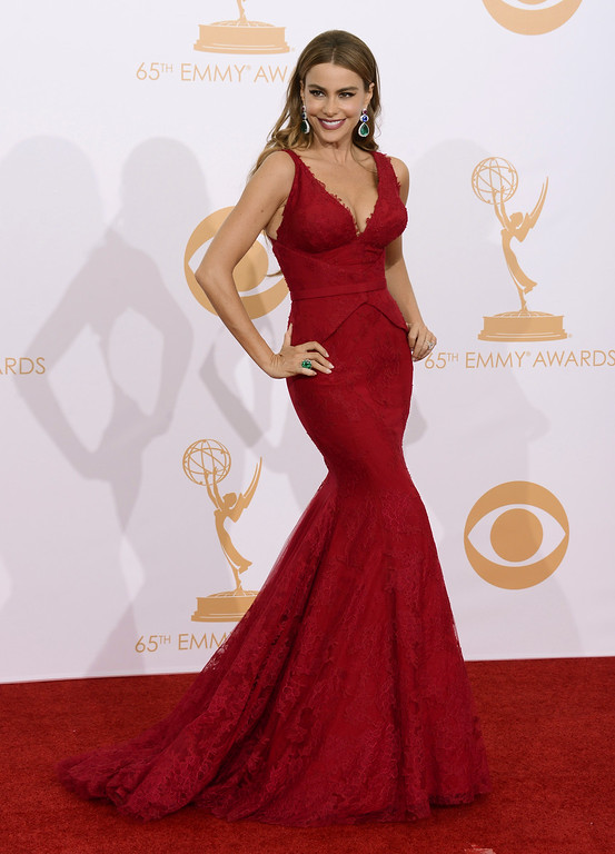. Sofia Vergara, wearing Vera Wang, poses backstage at the 65th Primetime Emmy Awards at Nokia Theatre on Sunday Sept. 22, 2013, in Los Angeles.  (Photo by Dan Steinberg/Invision/AP)