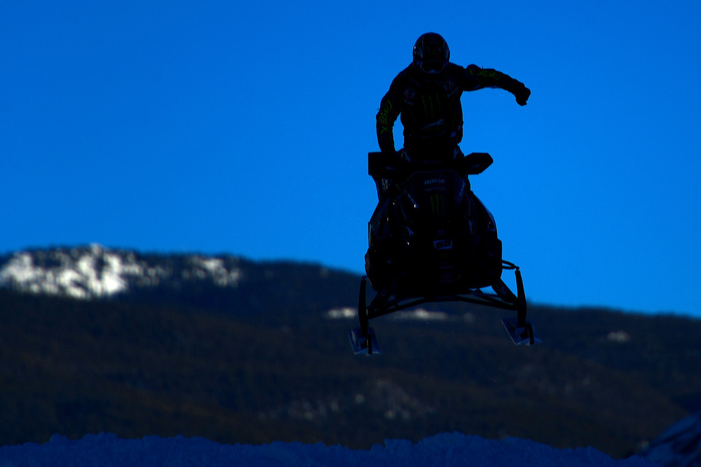 . ASPEN, CO - JANUARY 27: Tucker Hibbert pumps his fist upon finishing first during the snowmobile snocross final. X Games Aspen Buttermilk Mountain Aspen January 27, 2013 (Photo By AAron Ontiveroz / The Denver Post)