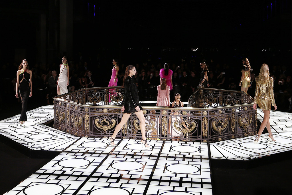 . Models present creations by Italian designer Donatella Versace for Versace during the Haute Couture Spring-Summer 2013 Versace collection show, on January 20, 2013 in Paris.  FRANCOIS GUILLOT/AFP/Getty Images