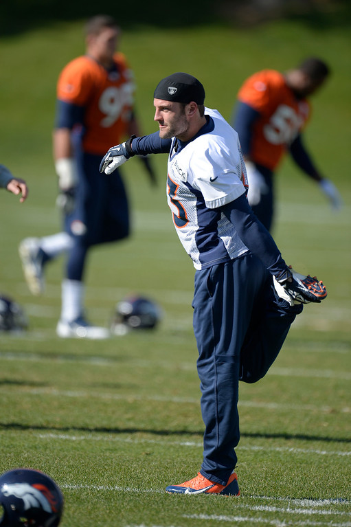 . Denver Broncos wide receiver Wes Welker (83) stretches before practice October 16, 2013 at Dove Valley. (Photo by John Leyba/The Denver Post)