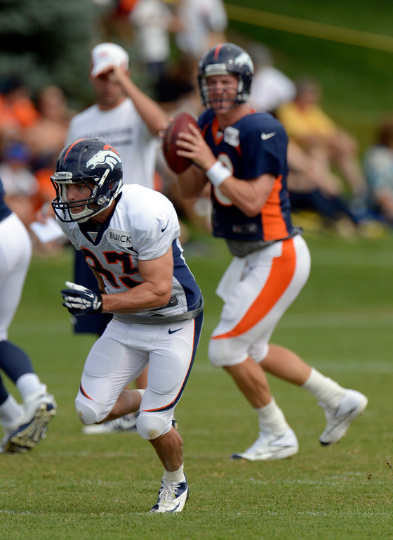 . Denver Broncos QB Peyton Manning (18) drops back to pass to WR Wes Welker (83) in drills during training camp August 1, 2013 at Dove Valley. (Photo By John Leyba/The Denver Post)