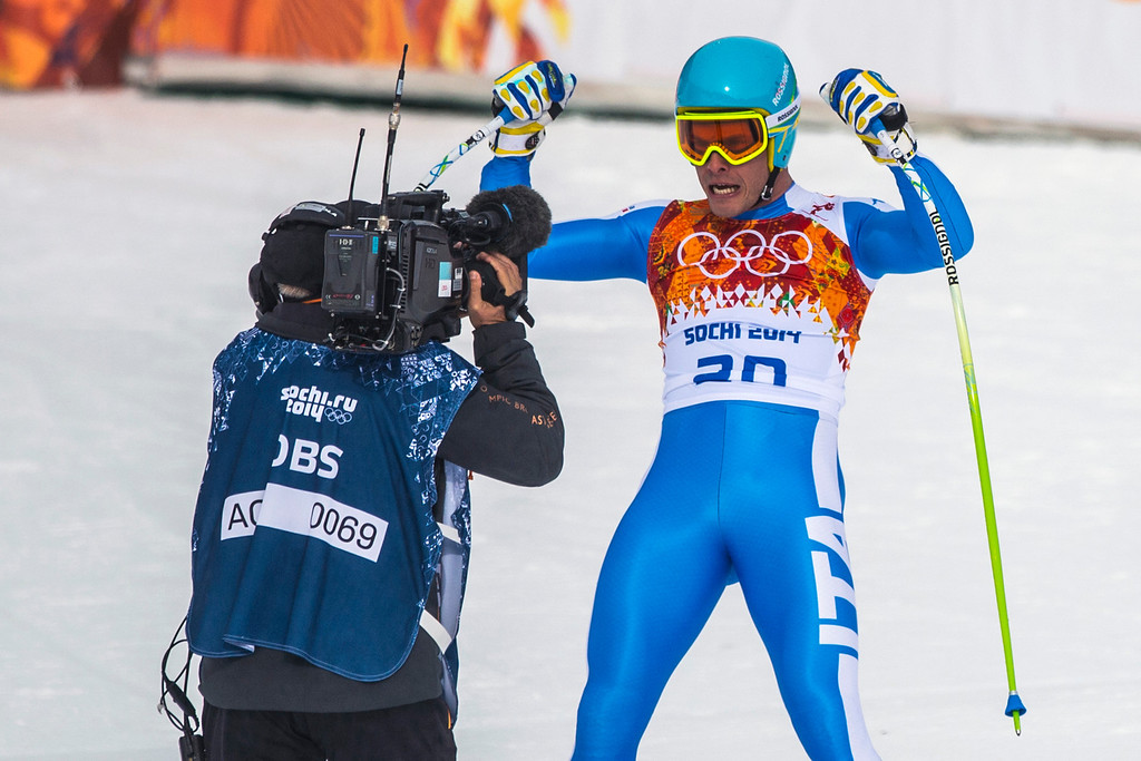 . KRASNAYA POLYANA, RUSSIA  - JANUARY 9: Italy\'s Christof Innerhofer reacts after competing in the Men\'s Downhill race at Rosa Khutor Alpine Center during the 2014 Sochi Olympic Games Sunday February 9, 2014. Innerhofer won the silver with a time of 2:06.29. (Photo by Chris Detrick/The Salt Lake Tribune)