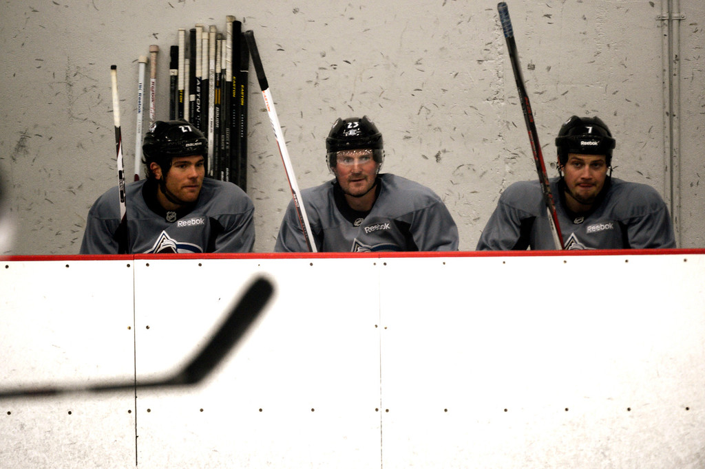 . Colorado Avalanche right wingers Steve Downie #27, Milan Hejduk #23 and David Van der Gulik #7 on the bench during training camp practice at Family Sports Center in Centennial, Colorado, Monday, January 14,  2013.    Joe Amon, The Denver Post