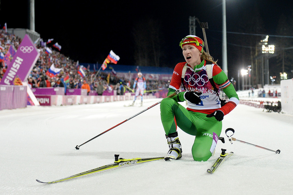 . Darya Domracheva of Belarus reacts after competing in the Women\'s 12.5 km Mass Start during day ten of the Sochi 2014 Winter Olympics at Laura Cross-country Ski & Biathlon Center on February 17, 2014 in Sochi, Russia.  (Photo by Harry How/Getty Images)