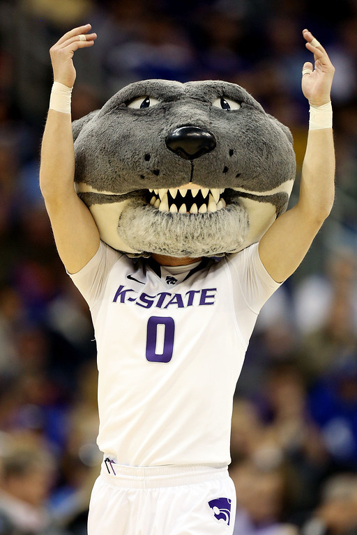 . KANSAS CITY, MO - MARCH 22:  Willie the Wildcat, mascot of the Kansas State Wildcats, performs in the first half against the La Salle Explorers during the second round of the 2013 NCAA Men\'s Basketball Tournament at the Sprint Center on March 22, 2013 in Kansas City, Missouri.  (Photo by Ed Zurga/Getty Images)
