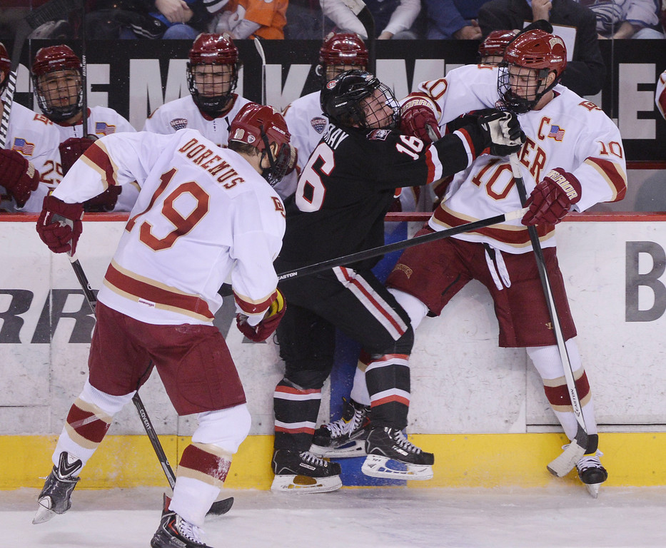 . DENVER, CO. - JANUARY 10: The St. Cloud State hockey team defeated the University of Denver 6-3 at Magness Arena Friday night, January 10, 2014. Photo By Karl Gehring/The Denver Post