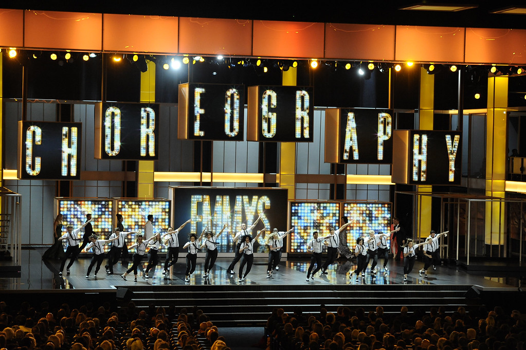 . Dancers perform on stage at the 65th Primetime Emmy Awards at Nokia Theatre on Sunday Sept. 22, 2013, in Los Angeles.  (Photo by Chris Pizzello/Invision/AP)