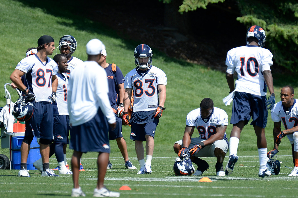 . Wide receivers fo the Denver Broncos take a break during mini camp June 11, 2013 at Dove Valley. (Photo By John Leyba/The Denver Post)