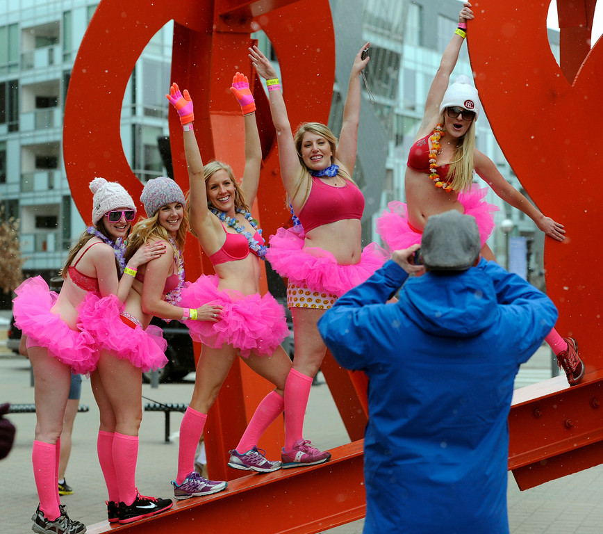 . DENVER, CO. - FEBRUARY 09: Hundreds of underwear-clad runners made their way downtown and around Civic Center Park in the Cupid\'s Undie Run all to  raise money for The Children\'s Tumor Foundation. (Photo By Kathryn Scott Osler/The Denver Post)