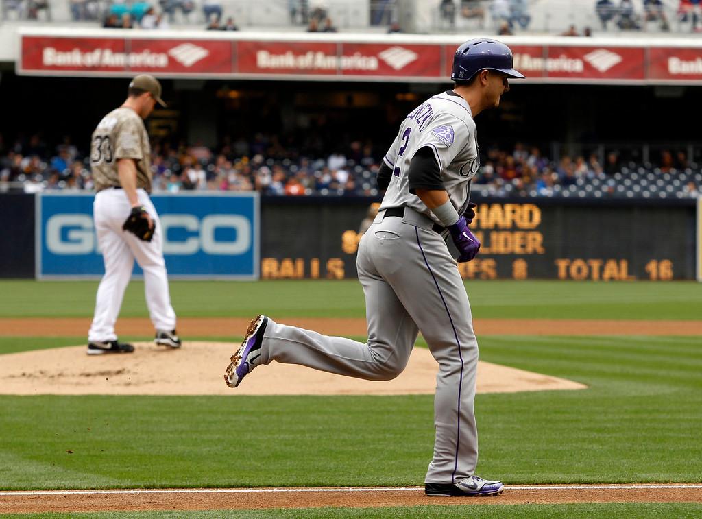 . Colorado Rockies\' Troy Tulowitzki (2) walks with San Diego Padres starting pitcher Clayton Richard (33) on the mound in the first inning during a baseball game Sunday  April 14, 2013, in San Diego. (AP Photo/Alex Gallardo)