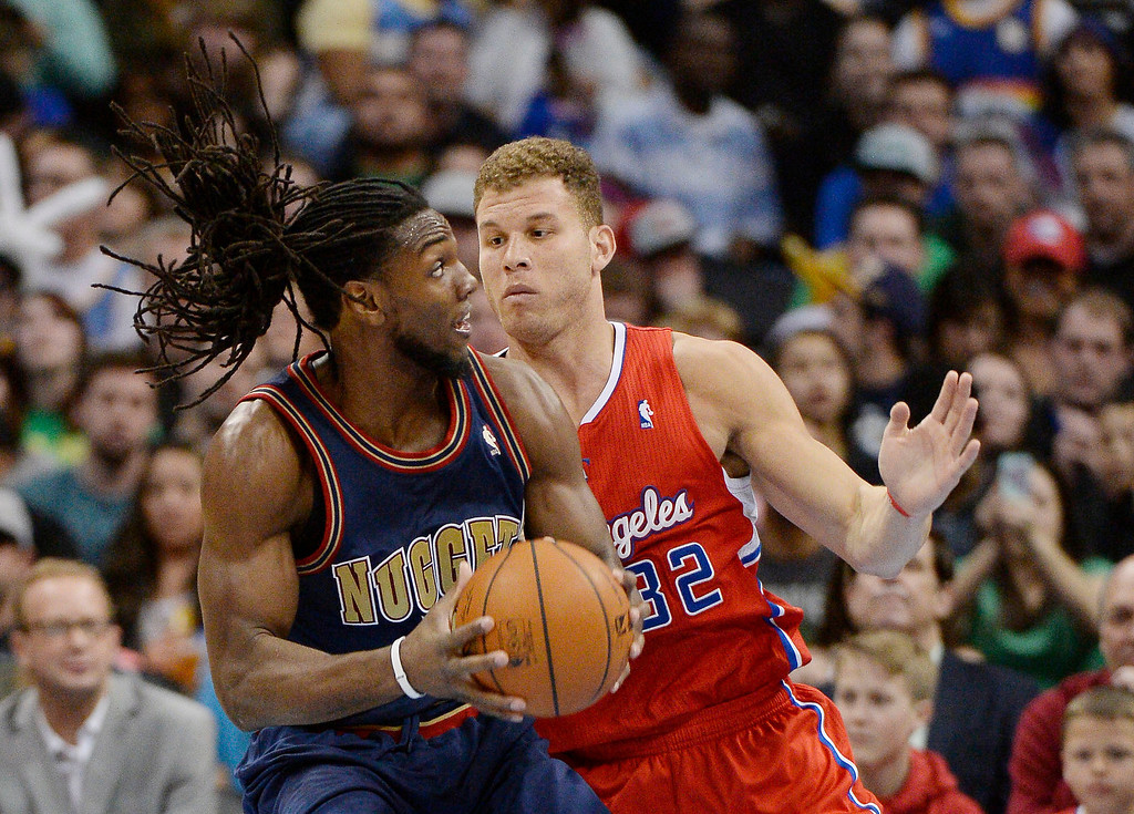 . Denver Nuggets forward Kenneth Faried (35) puts a spin move on Los Angeles Clippers forward Blake Griffin (32) during the third quarter. (Photo by John Leyba/The Denver Post)
