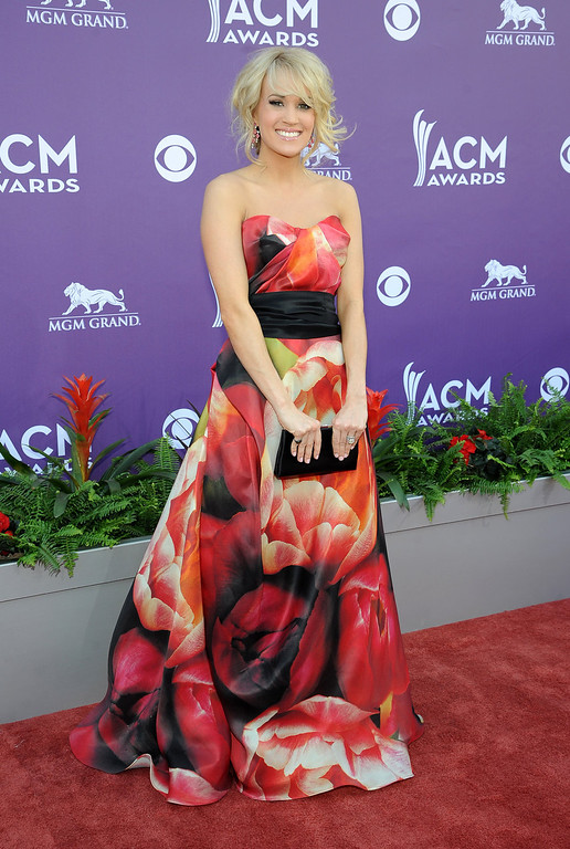 . Singer Carrie Underwood arrives at the 48th Annual Academy of Country Music Awards at the MGM Grand Garden Arena in Las Vegas on Sunday, April 7, 2013. (Photo by Al Powers/Invision/AP)