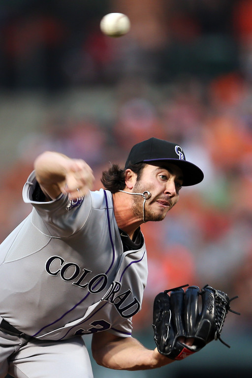 . BALTIMORE, MD - AUGUST 17:  Starting pitcher Chad Bettis #35 of the Colorado Rockies throws to a Baltimore Orioles batter during the first inning at Oriole Park at Camden Yards on August 17, 2013 in Baltimore, Maryland.  (Photo by Rob Carr/Getty Images)