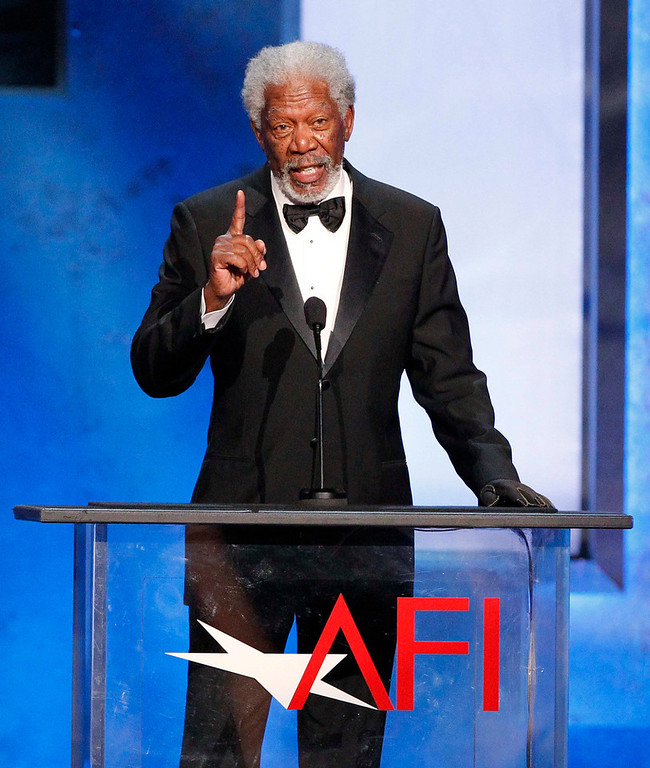 . Actor Morgan Freeman speaks at the American Film Instituteís 41st Life Achievement Award Gala at the Dolby theatre in Hollywood, California June 6, 2013. Producer Mel Brooks was honoured with the award. REUTERS/Mario Anzuoni
