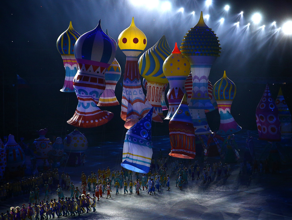 . A general view of atmosphere during the Opening Ceremony of the Sochi 2014 Winter Olympics at Fisht Olympic Stadium on February 7, 2014 in Sochi, Russia.  (Photo by Clive Mason/Getty Images)