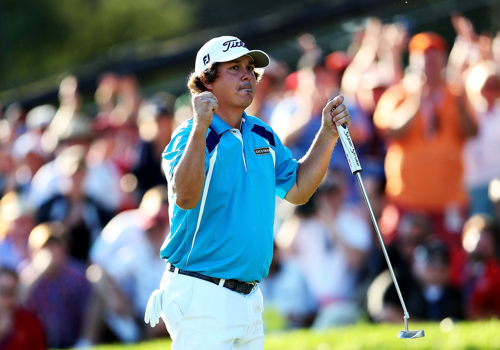 . Jason Dufner of the United States celebrates on the 18th green after his two-stroke victory at the 95th PGA Championship at Oak Hill Country Club on August 11, 2013 in Rochester, New York.  (Photo by Andrew Redington/Getty Images)