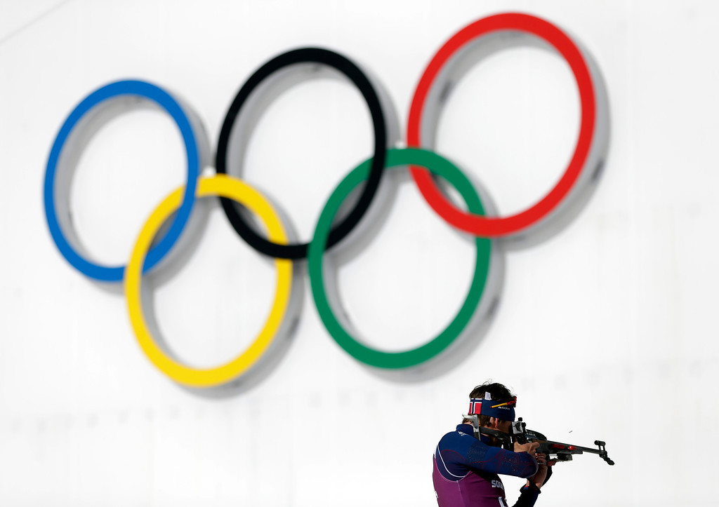 . Norway\'s Lars Berger shoots during a training session at the Biathlon stadium, at the 2014 Winter Olympics, Tuesday, Feb. 4, 2014, in Krasnaya Polyana, Russia. (AP Photo/Felipe Dana)