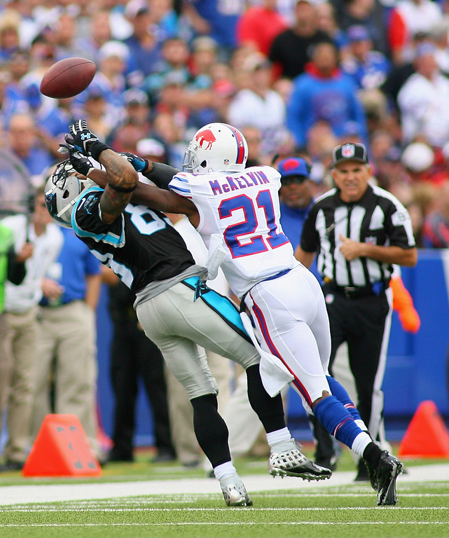. Leodis McKelvin #21 of the Buffalo Bills breaks up a pass intended for  Steve Smith #89 of the Carolina Panthers at Ralph Wilson Stadium on September 15, 2013 in Orchard Park, New York.  (Photo by Rick Stewart/Getty Images)