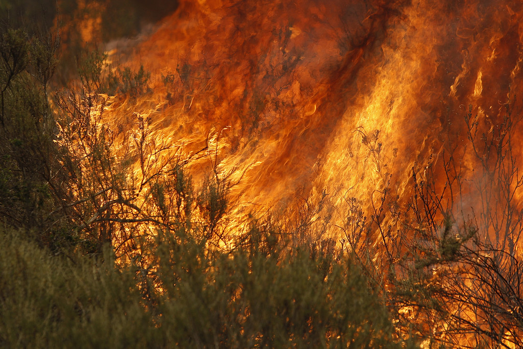 . Flames spread at the Cocos fire on May 15, 2014 in San Marcos, California. Fire agencies throughout the state are scrambling to prepare for what is expected to be a dangerous year of wildfires in this third year of extreme drought in California.   (Photo by David McNew/Getty Images)