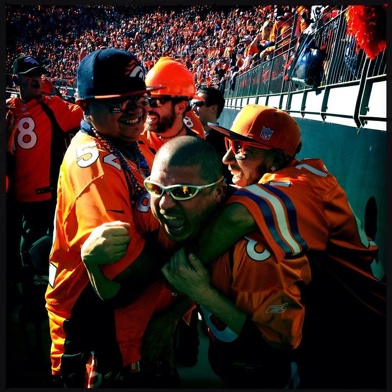 . Ralph LeDoux after the Broncos\' 2nd quarter touchdown. Photo by Craig F. Walker.