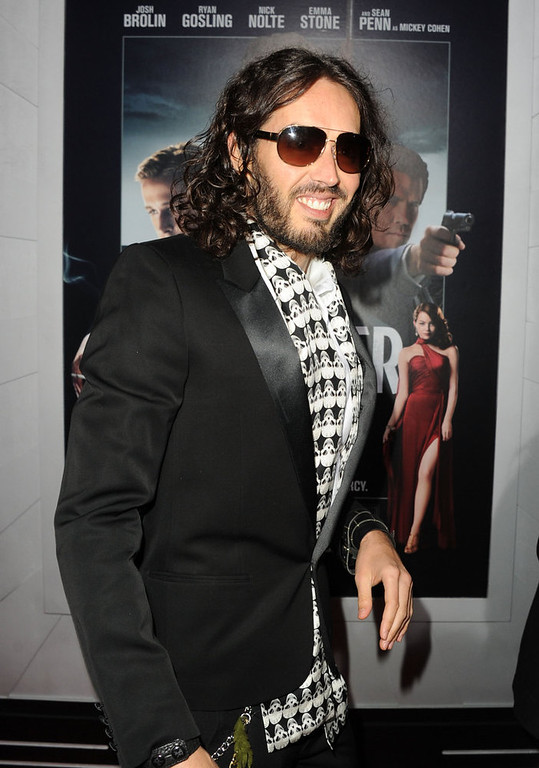 """. Actor Russell Brand arrives at Warner Bros. Pictures\' \""""Gangster Squad\"""" premiere at Grauman\'s Chinese Theatre on January 7, 2013 in Hollywood, California.  (Photo by Kevin Winter/Getty Images)"""