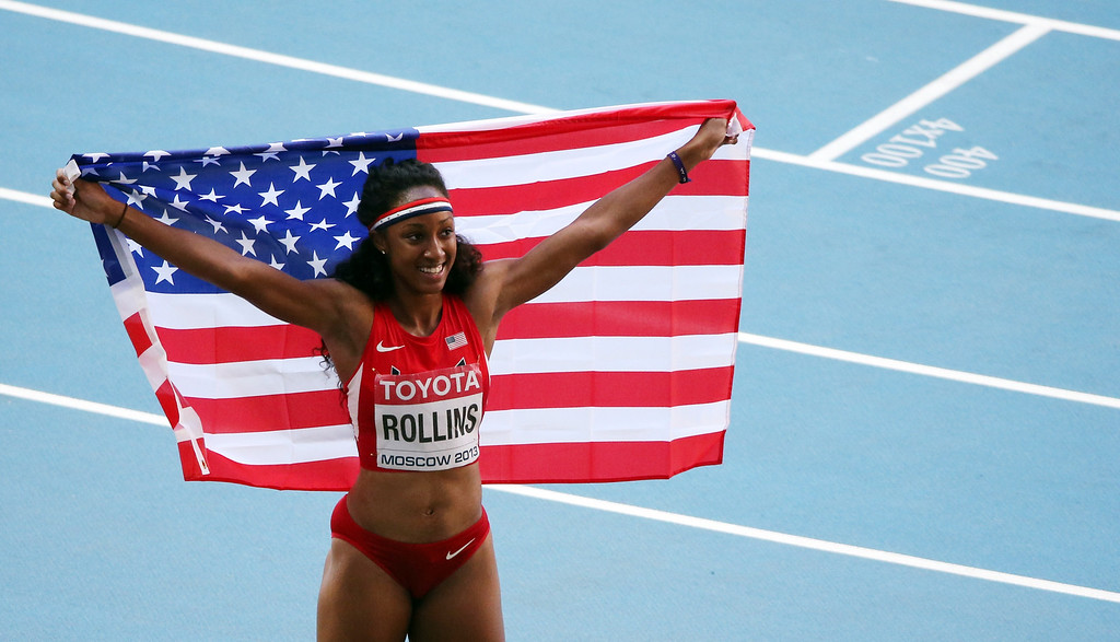 . US\'s Brianna Rollins celebrates after winning the women\'s 100 metres hurdles final at the 2013 IAAF World Championships at the Luzhniki stadium in Moscow on August 17, 2013.   LOIC VENANCE/AFP/Getty Images