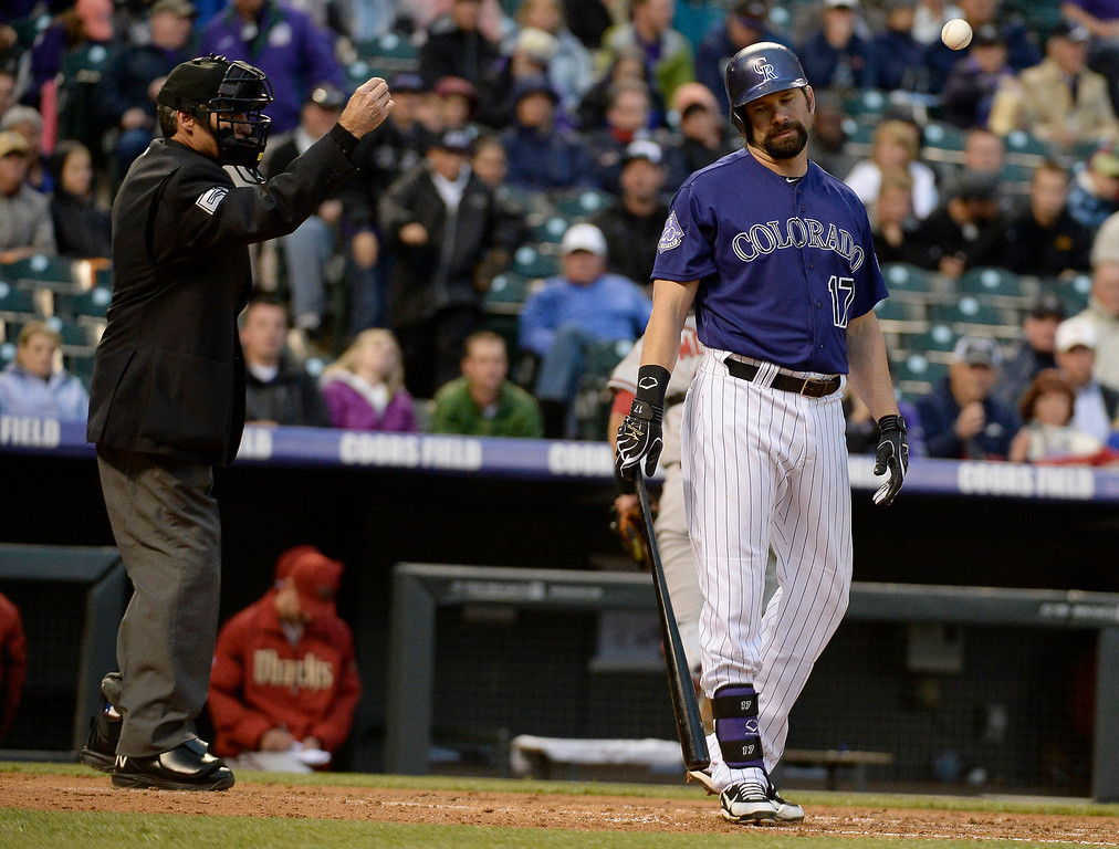 . DENVER, CO. - MAY 20: Todd Helton (17) of the Colorado Rockies reacts after getting called out on strikes during the second inning against the Arizona Diamondbacks May 20, 2013 at Coors Field. (Photo By John Leyba/The Denver Post)