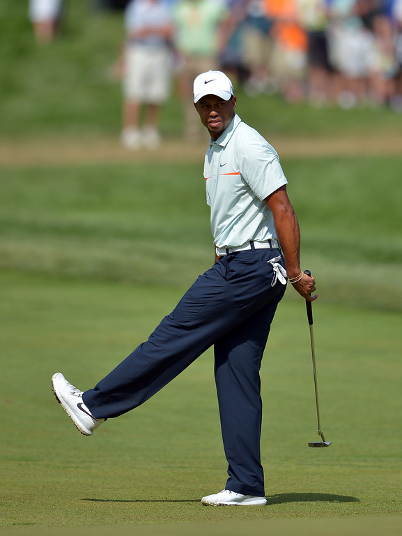 . Tiger Woods of the United States reacts to a missed putt for par on the sixth hole during Round Three of the 113th U.S. Open at Merion Golf Club on June 15, 2013 in Ardmore, Pennsylvania.  (Photo by Drew Hallowell/Getty Images)
