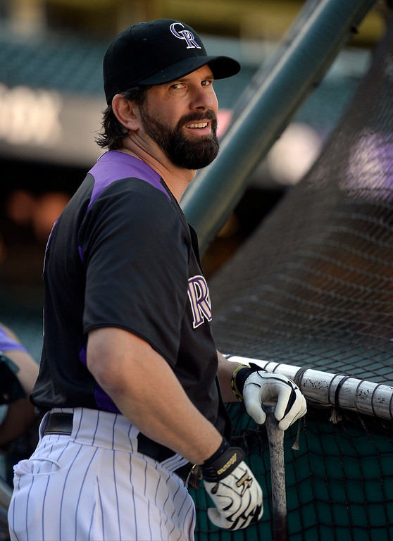 . Todd Helton (17) of the Colorado Rockies smiles during batting practice for the last time as a member of the Colorado Rockies September 25, 2013 at Coors Field. Helton will retire at the end of the season after 17 years with the club. (Photo By John Leyba/The Denver Post)