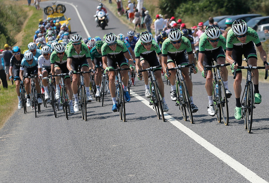. Team Belkin with Bauke Mollema of The Netherlands in fourth position, leads the breakaway group during the thirteenth stage of the Tour de France cycling race over 173 kilometers (108.1 miles) with start in in Tours and finish in Saint-Amand-Montrond, western France, Friday July 12 2013. (AP Photo/Christophe Ena)