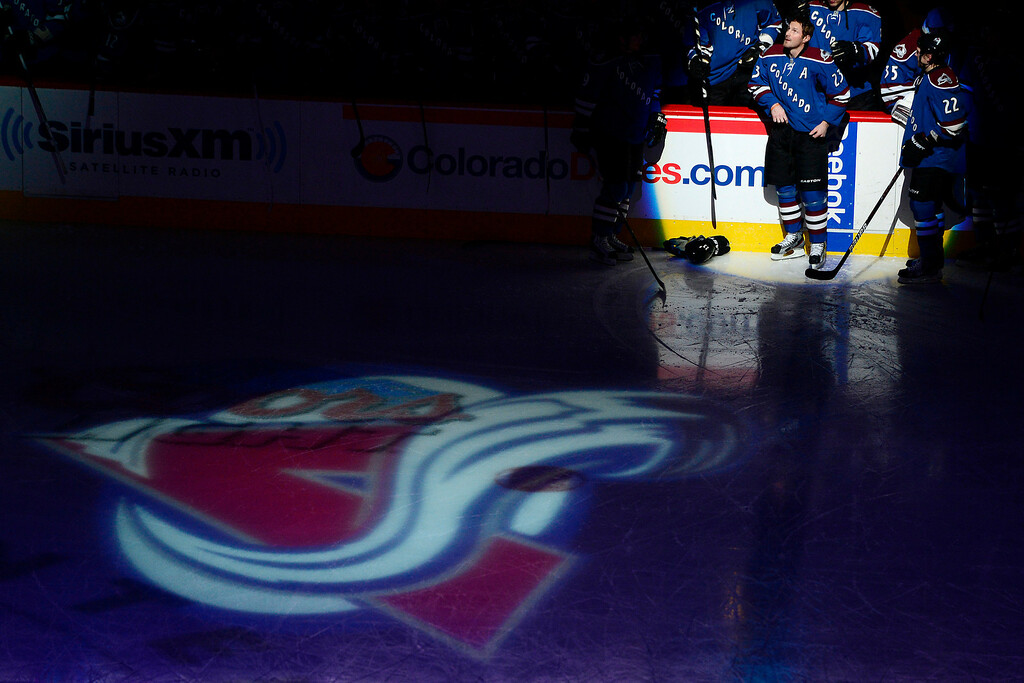 . DENVER, CO. - FEBRUARY 4: Milan Hejduk (23) of the Colorado Avalanche watches a tribute video to him on the ice before the first period of his 1,000th career game. Colorado Avalanche versus the Dallas Stars at the Pepsi Center on February 4, 2012. (Photo By AAron Ontiveroz/The Denver Post)