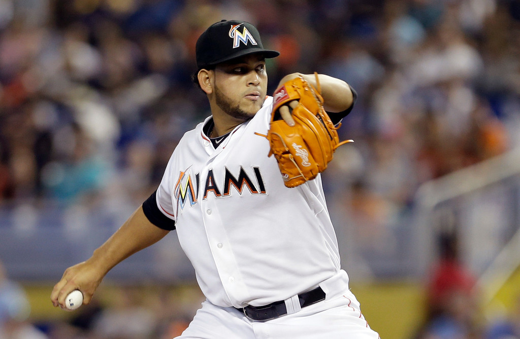 . Miami Marlins\' Henderson Alvarez pitches against the Detroit Tigers in the eighth inning of an interleague  baseball game on Sunday, Sept. 29, 2013, in Miami. Alvarez pitched a no-hitter as the Marlins won 1-0. (AP Photo/Alan Diaz)