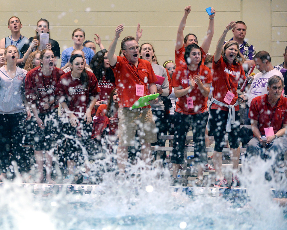 . THORNTON, CO. - FEBRUARY 15, 2014: Fairview coaches encouraged members of the 200-yard freestyle relay team Saturday. The CHSAA 5A Girl\'s State Swimming Championships wrapped up Saturday night February 14, 2104.  Photo By Karl Gehring/The Denver Post