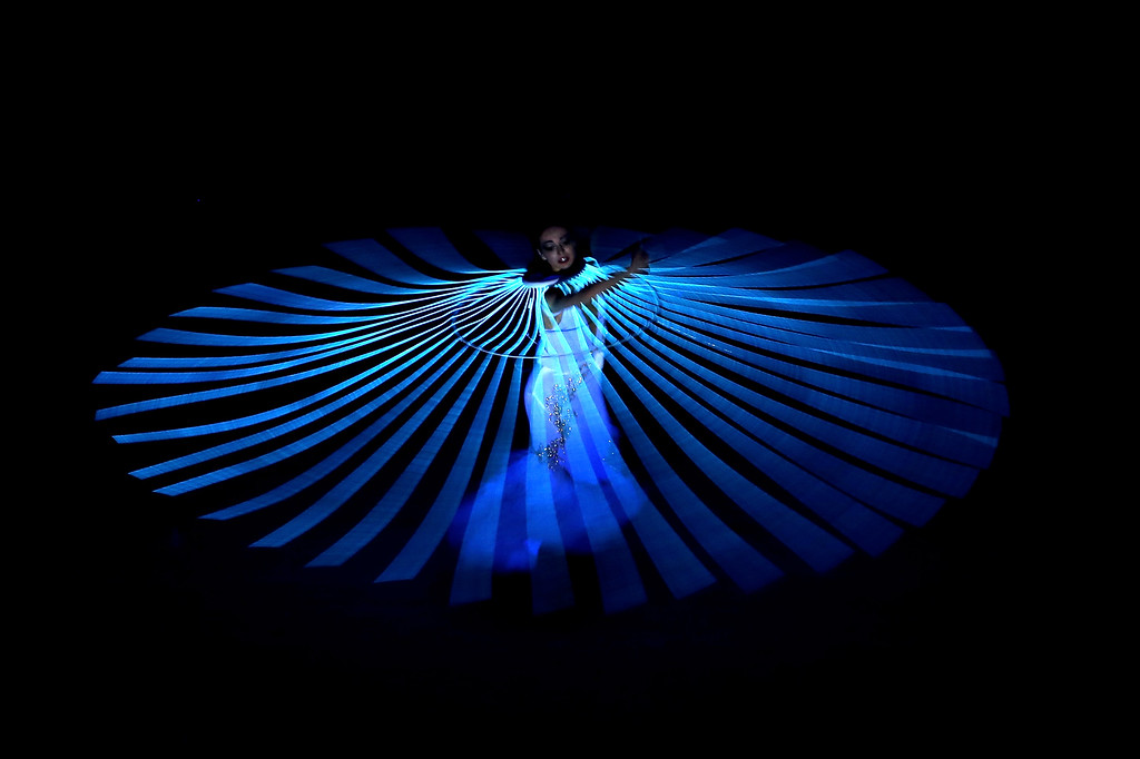 . Diana Vishneva performs Dove of Peace during the Opening Ceremony of the Sochi 2014 Winter Olympics at Fisht Olympic Stadium on February 7, 2014 in Sochi, Russia.  (Photo by Quinn Rooney/Getty Images)