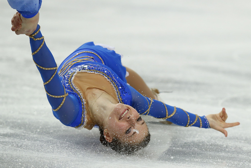 . Israel\'s Evgeni Krasnopolski and Israel\'s Andrea Davidovich perform their Figure Skating Pairs Free Program at the Iceberg Skating Palace during the Sochi Winter Olympics on February 12, 2014.    ADRIAN DENNIS/AFP/Getty Images