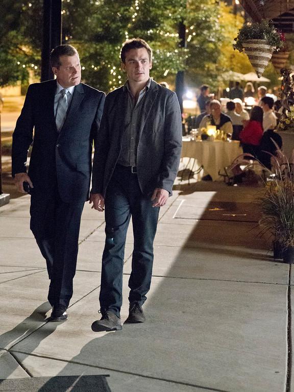""". Robert Newman as \""""Banker 1\"""" and Rupert Friend as Peter Quinn in Homeland (Season 3, Episode 2). - Photo:  Kent Smith/SHOWTIME"""