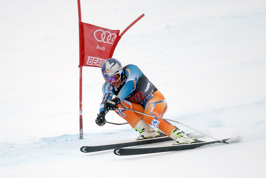 . Aksel Lund Svindal of Norway skis during the FIS Beaver Creek Men\'s Downhill World Cup race on December 6, 2013 in Beaver Creek, Colorado. (Photo by Ezra Shaw/Getty Images)