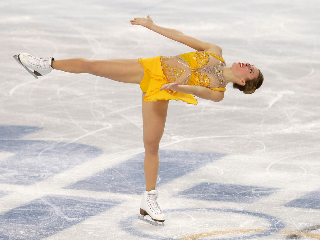 . Ashley Wagner of the United States competes in the women\'s free skate figure skating finals at the Iceberg Skating Palace during the 2014 Winter Olympics, Thursday, Feb. 20, 2014, in Sochi, Russia. (AP Photo/Darron Cummings)