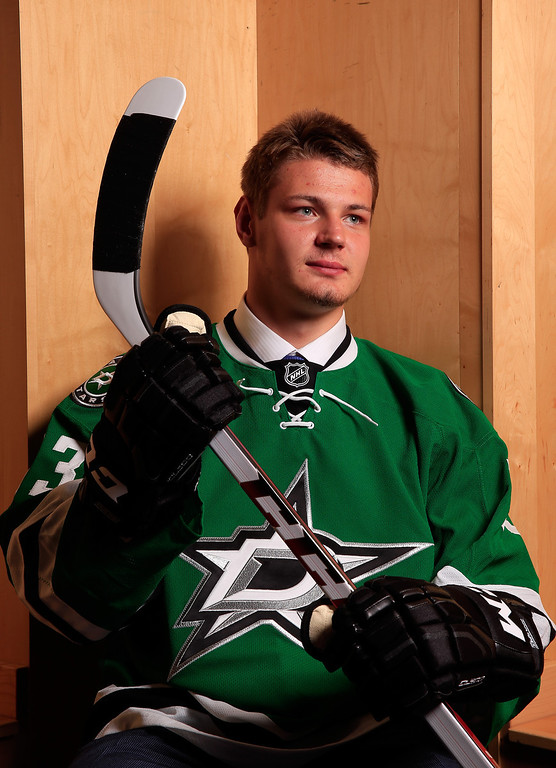 . Valeri Nichushkin poses for a portrait after being selected number ten overall in the first round by the Dallas Stars during the 2013 NHL Draft at the Prudential Center on June 30, 2013 in Newark, New Jersey.  (Photo by Jamie Squire/Getty Images)