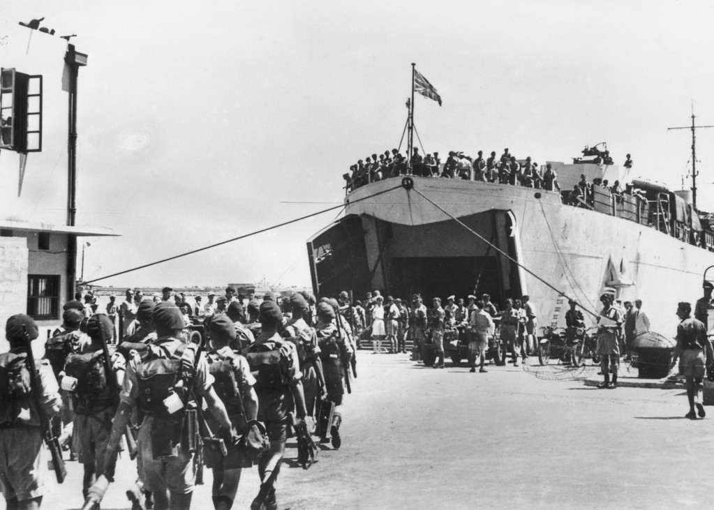 . June 1948:  The last of the British troops leave Haifa, Palestine.  (Photo by Keystone/Getty Images)