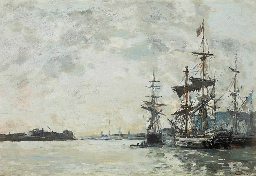". Eugene Boudin, ""Le Havre, Anchored Vessels in the Harbor,\"" 1868-1872. (Image provided by the Denver Art Museum)"