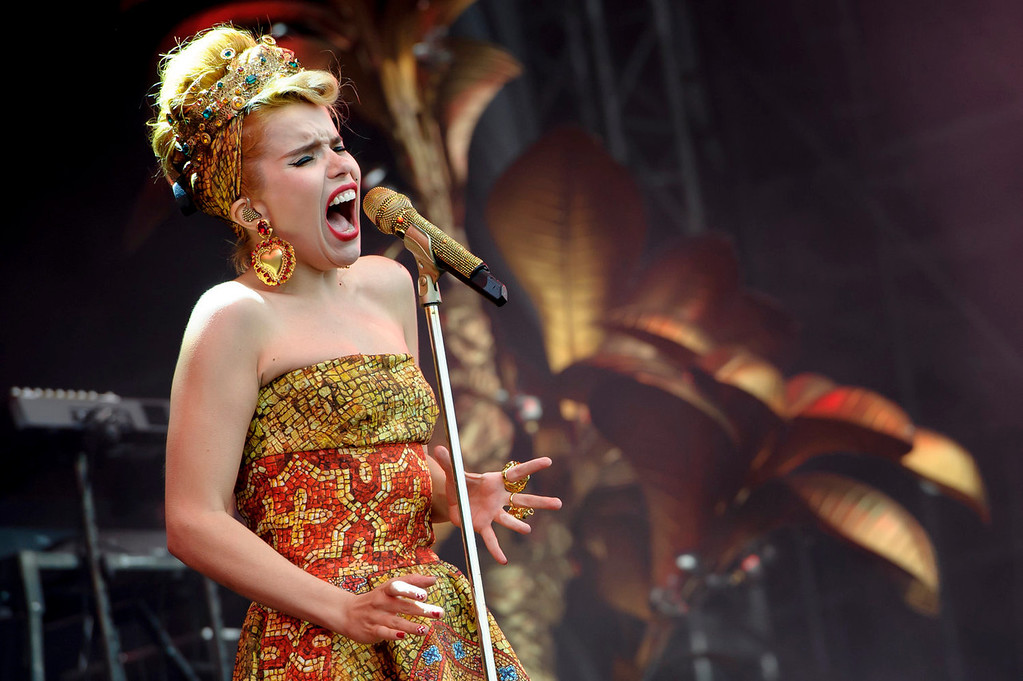 . British singer Paloma Faith performs at the V Festival in Chelmsford, Essex, Saturday, Aug. 17, 2013. (Photo by Jonathan Short/Invision/AP)