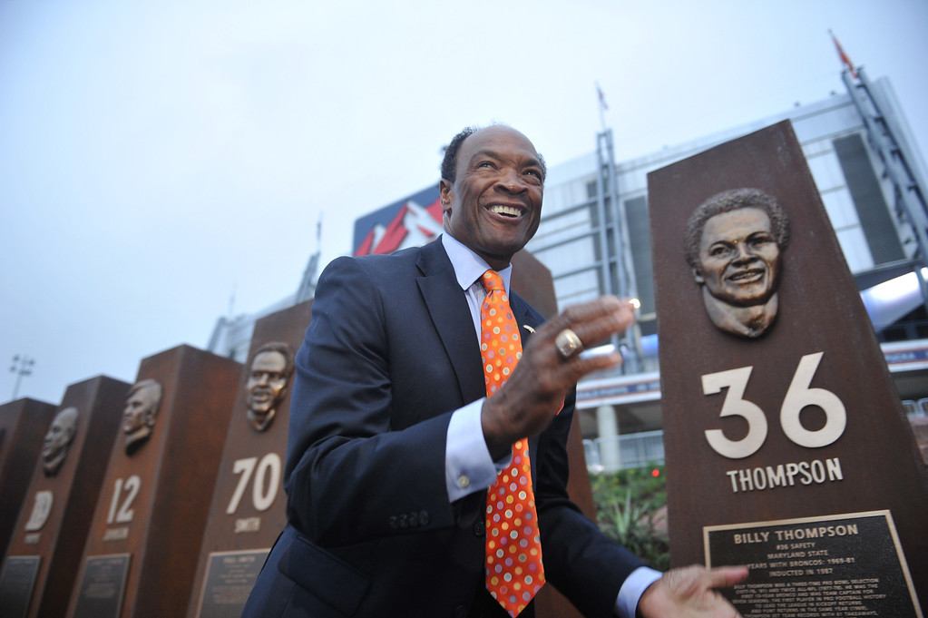 . DENVER, CO - September 27 : Defensive back Bill Thompson unveils his sculpture at the Denver Broncos Ring of Fame Plaza in Sports Authority Field at Mile High. Denver, Colorado. September 27, 2013. The Plaza features pillars honoring each of the 24 players in the Broncos� Ring of Fame. (Photo by Hyoung Chang/The Denver Post)