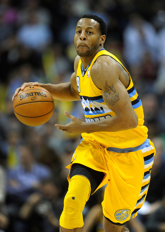 . Denver forward Andre Iguodala (9) pushed the ball up court in the second half. The Denver Nuggets defeated the San Antonio Spurs 112-106 at the Pepsi Center Tuesday night, December 18, 2012. Karl Gehring/The Denver Post