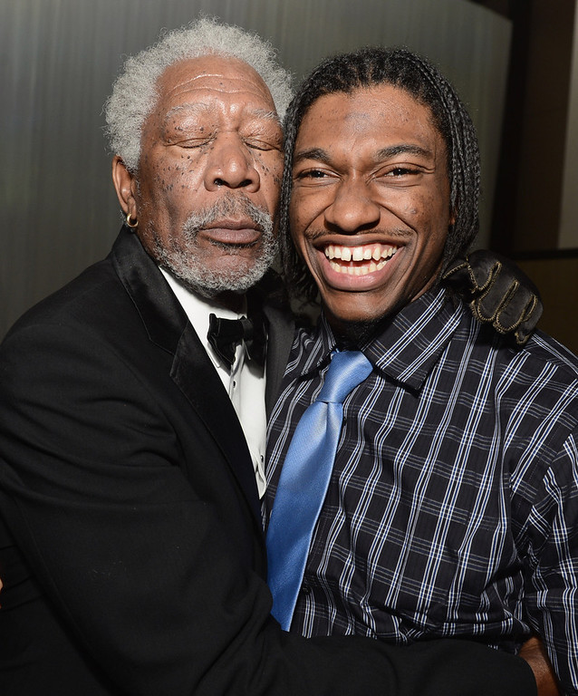 """. Actor Morgan Freeman and NFL player Robert Griffin III attend the after party for the premiere of Universal Pictures\' \""""Oblivion\"""" at Dolby Theatre on April 10, 2013 in Hollywood, California.  (Photo by Kevin Winter/Getty Images)"""