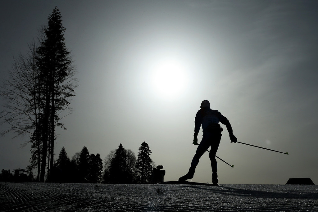 . An athlete competes in the Men\'s 50 km Mass Start Free during day 16 of the Sochi 2014 Winter Olympics at Laura Cross-country Ski & Biathlon Center on February 23, 2014 in Sochi, Russia.  (Photo by Julian Finney/Getty Images)