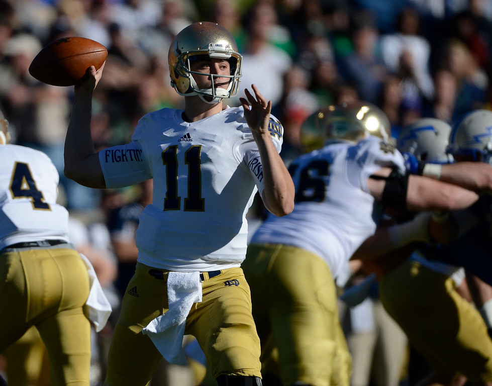 . COLORADO SPRINGS, CO - OCTOBER 26: Notre Dame QB, Tommy Rees, during the game against Air Force in the first quarter at Falcon Stadium Saturday afternoon, October 26, 2013. (Photo By Andy Cross/The Denver Post)