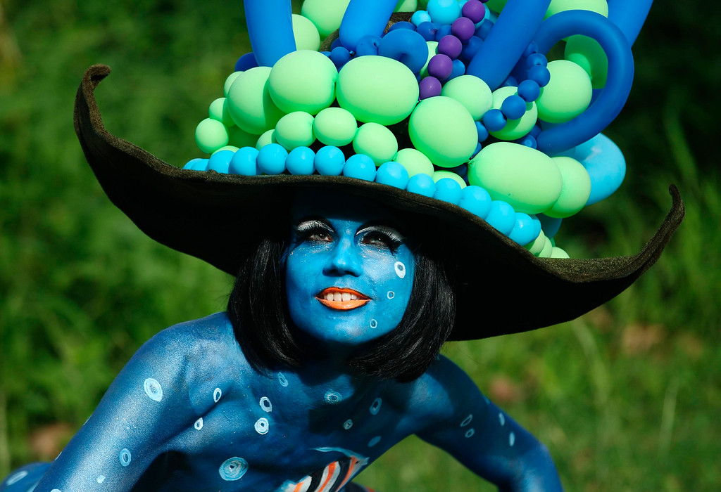 . A model poses during the annual World Bodypainting Festival in Poertschach July 6, 2013. The event takes place from July 5 to 7 at lake Worthersee in Austria\'s southern Carinthia province. REUTERS/Heinz-Peter Bader