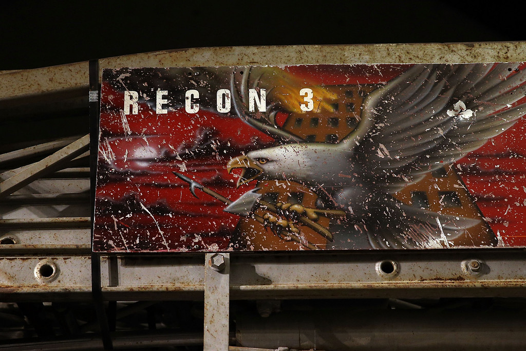 . The destroyed Ladder 3 fire truck is viewed during a tour of the National September 11 Memorial Museum on May 14, 2014 in New York City.   (Photo by Spencer Platt/Getty Images)